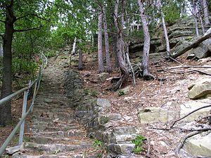 Mill Bluff State Park - Stairs built by the Works Progress Administration up Mill Bluff