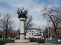 Millenium Monument. Cantata Profana fountain, or the Well of the Nine mythical stags by Laszlo Marton. From SW. - Királyhágó Sq., Budapest District 12.JPG
