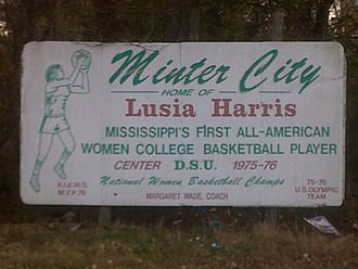 Minter City, Mississippi - Sign on U.S. Highway 49E celebrating Minter City as the hometown of Lusia Harris