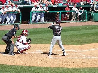 Mississippi State Bulldogs - C.T. Bradford bats for the Bulldogs against Arkansas