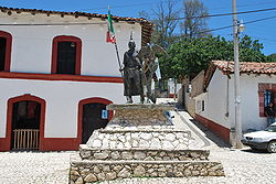 Monument to Cuauhtémoc in a plaza in the town