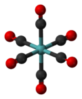 Ball and stick model of molybdenum hexacarbonyl