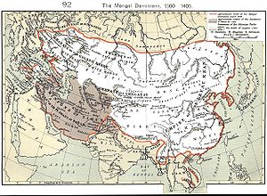 Timur's invasions of Georgia - The Mongol dominions, 1300–1405; the Timurid Empire is shaded.