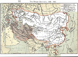 Khan (title) - Mongol Empire's largest extent outlined in red; the Timurid Empire is shaded