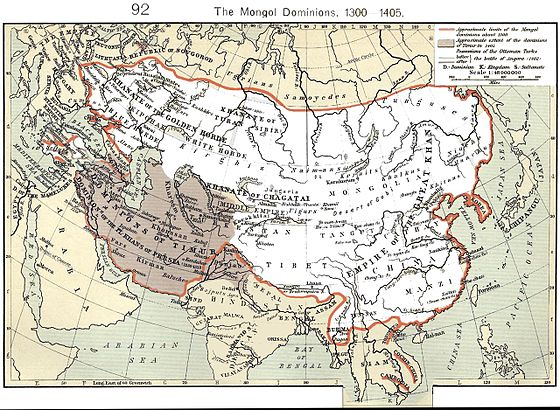 The Mongol Empire at its greatest extent. The gray area is the later Timurid Empire. Mongol dominions1.jpg