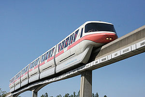 Monorail Coral Traveling on the Epcot Line