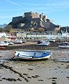 Mont Orgueil from harbour low tide.jpg
