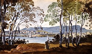 Saint Helen's Island - Painting, Montreal from St. Helen's Island by George Heriot, about 1801.