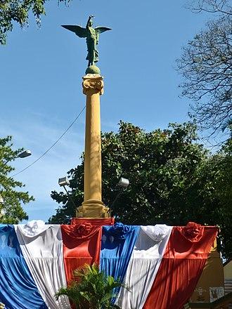 The Amazing Race 20 - Escalinata de Antequera, underneath Monumento a los Comuneros in Asunción, Paraguay, served as the Pit Stop.