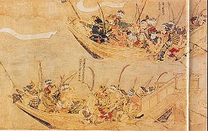 Battle of Kōan - Japanese attack ships. Mōko Shūrai Ekotoba (蒙古襲来絵詞), circa 1293.