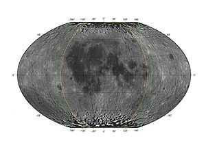 Libration - Theoretical extent of visible lunar surface (green line) due to libration in Winkel tripel projection.
