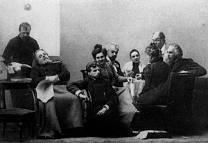 Stanislavski's system - Stanislavski's production of Chekhov's ''The Seagull'' in 1898, which gave the MAT its emblem, was staged without the use of his system; Stanislavski as Trigorin (seated far right) and Meyerhold as Konstantin (on floor), with Knipper (behind).