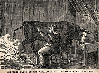 Catherine O'Leary - 1871 illustration from Harper's Magazine depicting a shocked Mrs. O'Leary seeing her cow kicking over the lantern while she is milking.