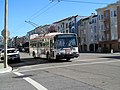 Muni route 22 trolleybus on Fillmore at Beach, June 2017.JPG