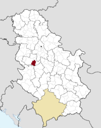 Location of the municipality of Mionica within Serbia
