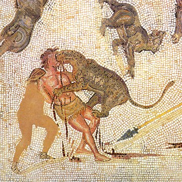 Condemned man attacked by a leopard in the arena (3rd-century mosaic from Tunisia) Museum of Sousse - Mosaics 2 detail.jpg