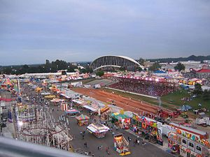 North Carolina State Fair - A view from the Midway with Dorton Arena in the background.