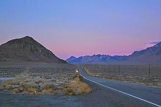 Nevada State Route 447 - SR 447 leaving Winnemucca Lake northbound toward Empire