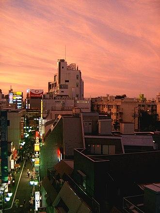 Nakano, Tokyo - Sunset over Nakano, with Nakano Broadway in the distance