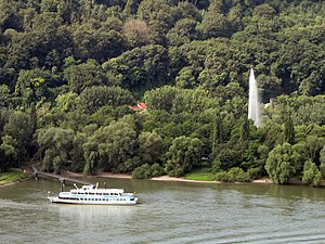 Andernach Geyser - The geyser with the landing stage on the Namedy Peninsula and the ferry, Namedy