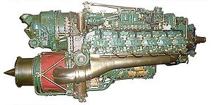 Compound engine - Napier Nomad turbo-compound aircraft engine, showing the turbine below. Modern compound truck and machinery engines use a similar configuration.
