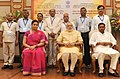 Narendra Modi in a group photograph at an informal interaction with the National Awardee Teachers, on eve of the Teachers' Day, in New Delhi. The Union Minister for Human Resource Development.jpg