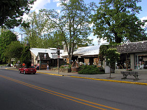 Nashville, Indiana - Van Buren St. in Nashville, Indiana showing some shops and the historic Nashville House