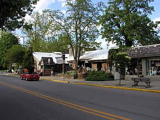 Nashville, Indiana - Van Buren St. in Nashville, Indiana showing some shops and the historic Nashville House