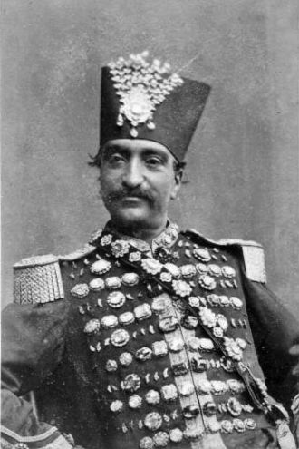 Naser al-Din Shah Qajar - The Shah in a uniform studded with diamonds from the treasury of the Persian emperors. Often he wore the famous square Darya-ye Noor.