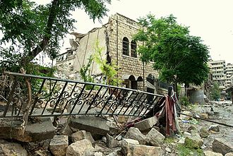 The National Presbyterian Church of Aleppo after being destroyed on 6 November 2012 National Evangelical Church of Aleppo (destructed), 12 June 2013.jpg