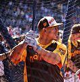 Nationals catcher Wilson Ramos takes batting practice on Gatorade All-Star Workout Day. (28041783644).jpg