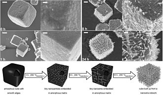 Self-organization - Self-organization in micron-sized Nb3O7(OH) cubes during a hydrothermal treatment at 200 °C. Initially amorphous cubes gradually transform into ordered 3D meshes of crystalline nanowires as summarized in the model below.