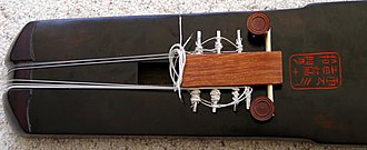Guqin strings - The new tuning device which clips onto the goose-feet and is strung using a tuning wrench on the zither-pins. The pins are adjusted to more-or-less the required pitch, whilst the tuning pegs on the head are used to tune it more finely. Image courtesy of Chinese Culture Net
