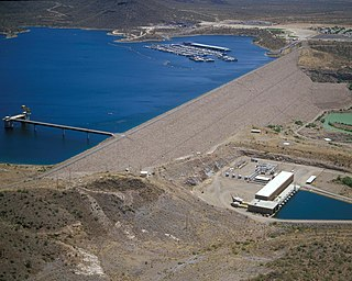 embankment dam on the Agua Fria River in Maricopa County, Arizona