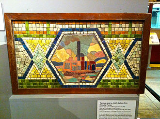 WTC Cortlandt (IRT Broadway–Seventh Avenue Line) - This Vickers mosaic was located in the station until it was removed in 1965 as part of a renovation. It is now located at the New York Transit Museum.