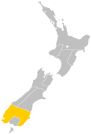 Otago Province - Map showing the boundaries of the Otago Province with Southland Province separate
