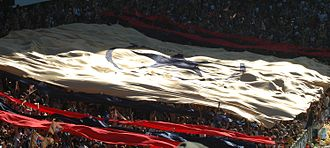 History of Newcastle Jets FC - Newcastle Jets Squadron Banner before the 2007-08 Grand Final