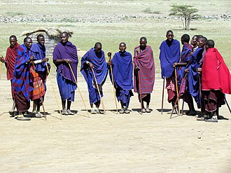 Nilotic peoples - Maasai men in Ngorongoro, Tanzania.