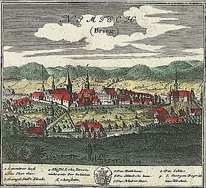 Niemcza - Nimptsch in 1752, drawing by Friedrich Bernhard Werner