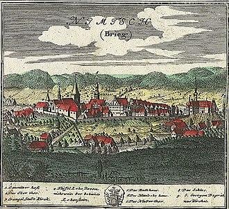 Niemcza - Nimptsch in 1752, drawing by Friedrich Bernhard Werner