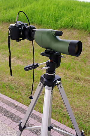 Digiscoping - Spotting scope with a digital camera mounted afocally using an adapter.