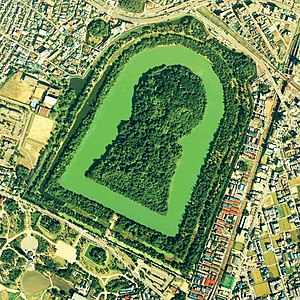 Kofun - Daisen Kofun, the largest of all kofun, one of many tumuli in the Mozu kofungun, Sakai, Osaka Prefecture (5th century)