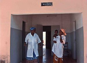 Healthcare in Senegal - Two women and an infant at a maternity ward on Niodior Island, Sine Saloum, Senegal (January 2006).