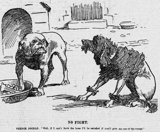 Fashoda Incident - 1898 political cartoon: A French poodle begs for scraps from a British bulldog