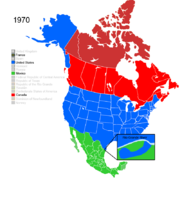 Map showing Non-Native American Nations Control over N America c. 1970