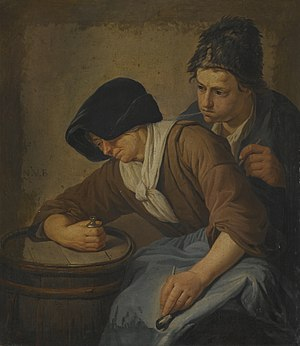 Norbert van Bloemen - Interior with a Man and a Woman Smoking