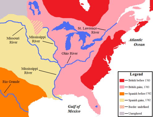 The resulting peace dramatically changed the political landscape of North America, with New France ceded to the British and the Spanish. NorthAmerica1763-A.png