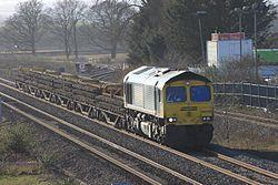 Norton Fitzwarren - Freightliner 66595 track recovery train.JPG