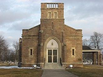Oak Hill Cemetery (Lebanon, Indiana) - William L. Powell Chapel, March 2014