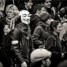 A member of the hacktivistAnonymous present at the Occupy Portland march.